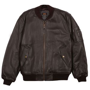 Picture of Alpha Industries MA-1 Leather Jacket Brown