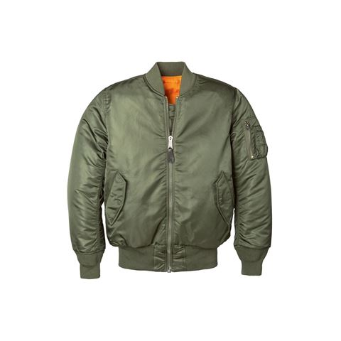 Picture of ALPHA INDUSTRIES WOMEN'S MA-1 FLIGHT REVERSIBLE BOMBER NYLON JACKET SAGE GREEN