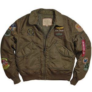 Picture of Alpha Industries CWU Pilot Flight Jacket Sage/Brown