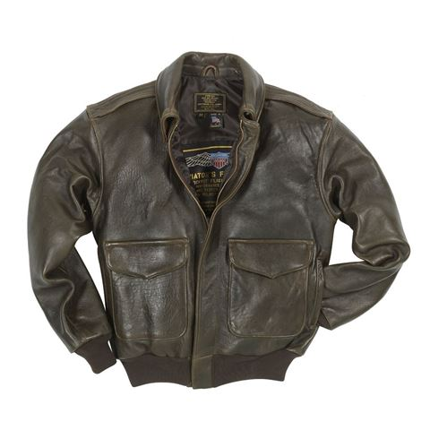 """Picture of Cockpit USA """"100 Mission"""" A-2 Pilot's lambskin Leather Jacket Brown Made in USA"""