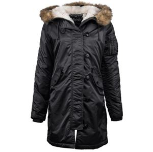 Picture of ALPHA INDUSTRIES WOMEN N-3B ELYSE  PARKA BLACK,SAGE GREEN