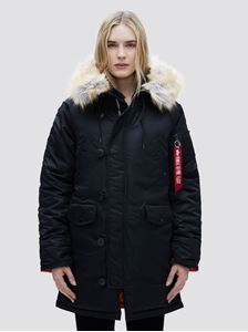 Picture of ALPHA INDUSTRIES WOMEN N-3B PARKA BLACK,REPLICA BLUE,COMMANDER RED